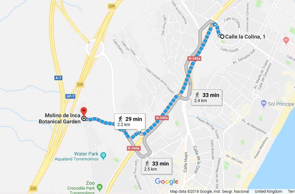 Google maps from La Colina to Botanical gardens