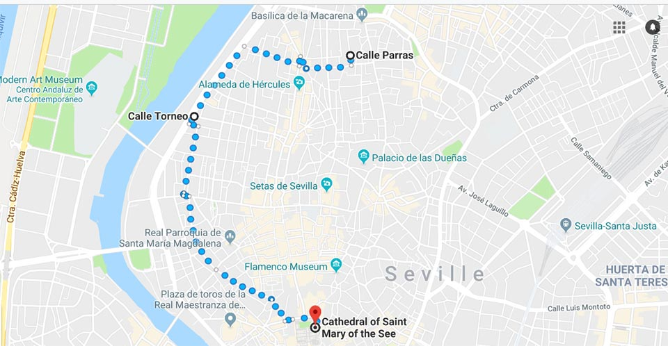 Google maps to Seville Cathedral