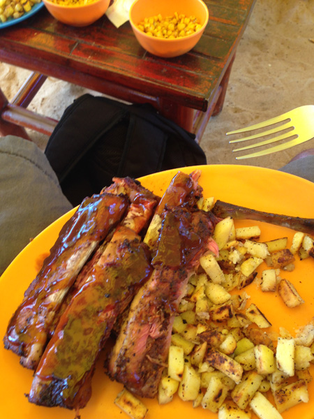 My plate of ribs at Big D's on Sosua beach