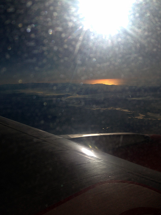 View of sunrise from flight to Malaga