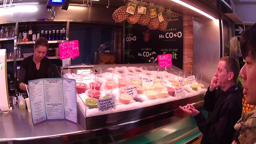 Juice store in Atarazanas market in Malaga