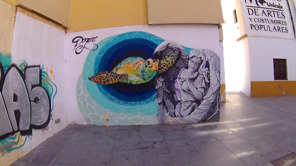 Street art in Malaga near Atarazanas market