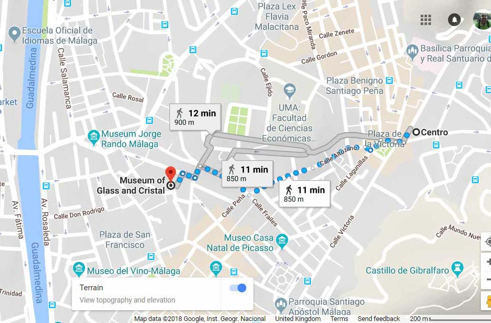 Google maps direction to Glass & Crystal museum Malaga