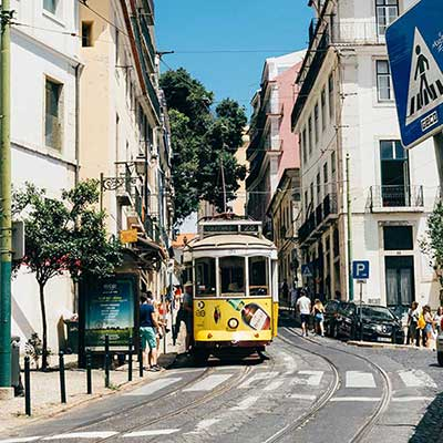 A tram on the streets of Lisbon