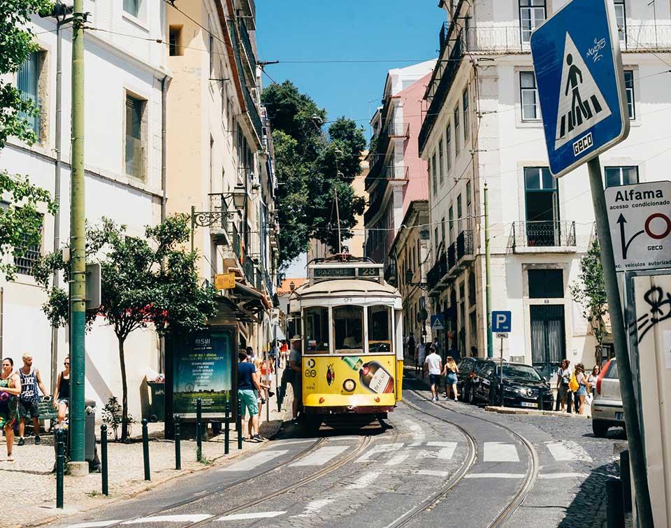 A tram on a street in Lisbon